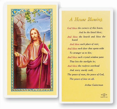 A HOUSE BLESSING LAMINATED HOLY CARD