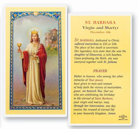 SAINT BARBARA HOLY CARD