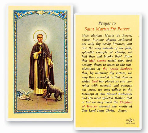 SAINT MARTIN DE PORRES HOLY CARD