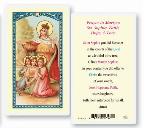 Prayers To Martyrs Saints Sophia, Faith, Hope, And Love Laminated Holy Card