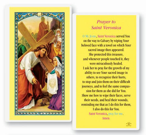 Saint Veronica Laminated Holy Card