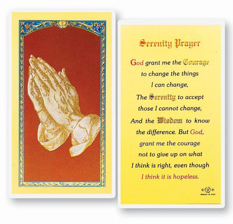 SERENITY PRAYER - LONG VERSION HOLY CARD