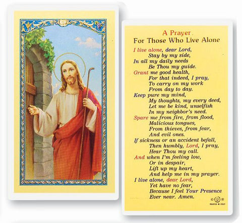 PRAYER FOR THOSE WHO LIVE ALONE HOLY CARD