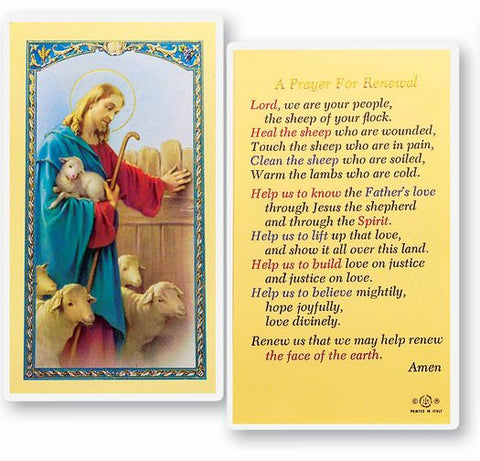 Prayer For Renewal Holy Card