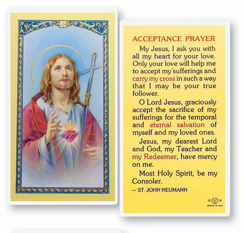 ACCEPTANCE PRAYER LAMINATED HOLY CARD