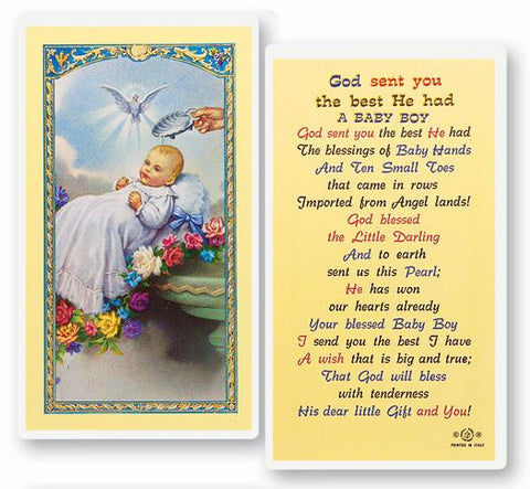 Baptism - Boy Laminated Holy Card