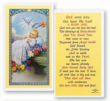 Baptism - Girl Laminated Holy Card