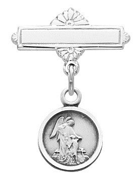 Baby Guardian Angel Pin  Sterling Silver