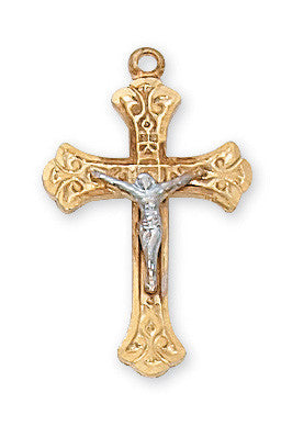 Gold over Sterling Tutone Crucifix Pendant