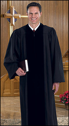 Cambridge Tailored Apparel Black Pulpit Robe with Polyester Velvet Panels
