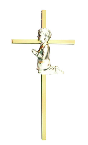 COMMUNION BOY PEWTER AND BRASS CROSS