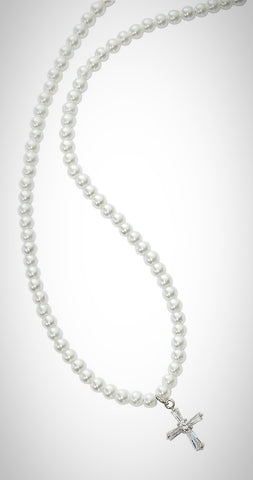 Pearl & Crystal Cross Necklace