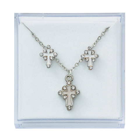 Silver-plated and Crystal Cross Earrings and Pendant