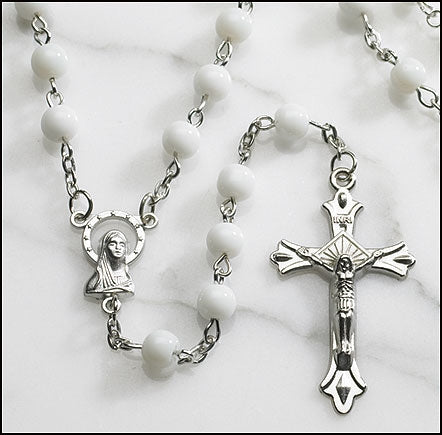 White Round Pressed Glass Rosary
