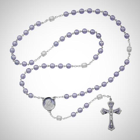 Mother and Child Purple Pearlized Rosary Boxed