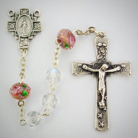 Aurora and Pink Venetian Glass Rosary Boxed
