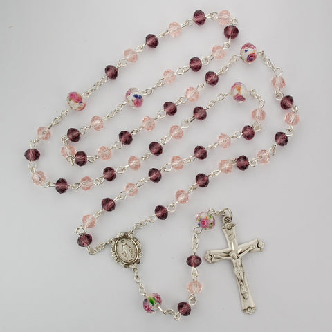 Pink Multi Tin Cut Crystal Rosary Boxed