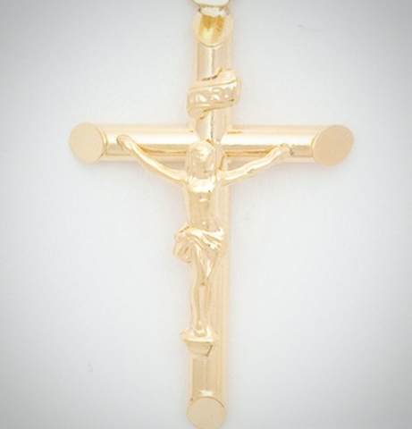 10k Large Round Tube Crucifix