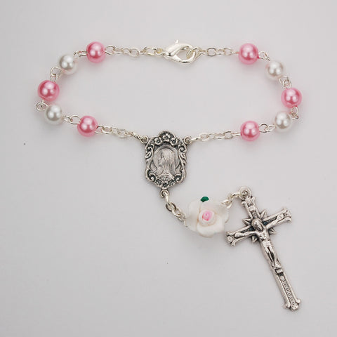WHITE & PINK PEARL AUTO ROSARY