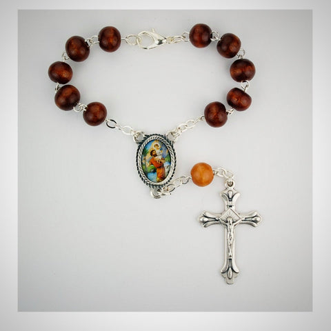 BROWN WOOD ST. CHRIS AUTO ROSARY