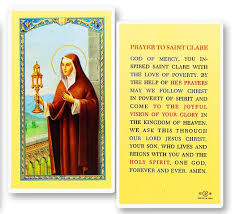 Prayer to St. Clare Holy Card