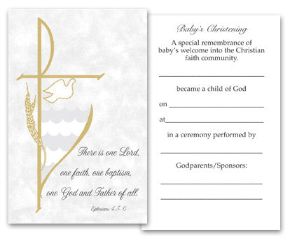 Baptism Holy Card  Parchment Collection