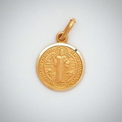 10K SMALL ROUND SAINT BENEDICT MEDAL