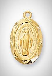 Baby Gold Miraculous Medal with Chain