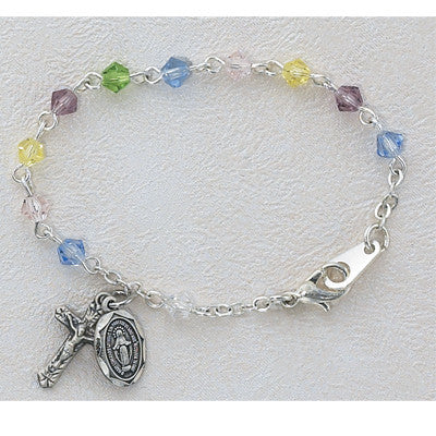 Baby Multi Coloured Crystal Bracelet With Sterling Silver Cross & Medal