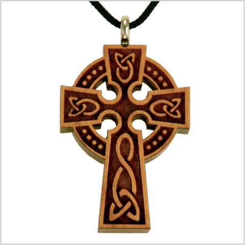 Necklace, wooden celtic cross