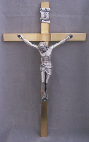 Crucifix with gold plated cross & silver plated corpus.