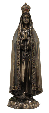 Our Lady of Fatima, lightly hand-pained, cold cast bronze, 10""