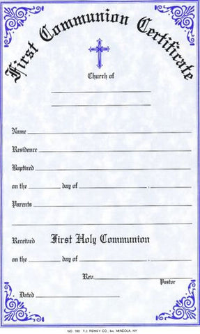 First Communion Certificate Pad 50