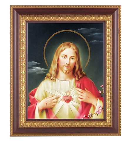 Sacred Heart of Jesus in Cherry Wood Frame