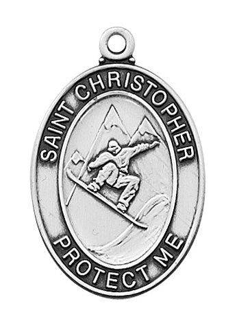 St. Christopher Sports Medal Boy Snowboarding