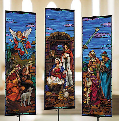 Stained Glass Nativity - Banner Set