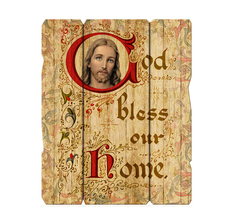 Wall Sacred Heart Bless Our Home Plaque