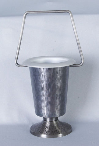 Holy Water Bucket - Hammered Oxidized Silver Finish - Lent and Easter