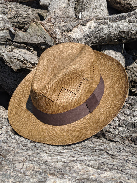 Genuine Panama Hat - in Brown / zigzag design