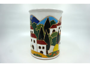 Tuscan Scene Canister in White