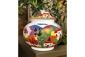 Tuscan Scene Biscotti Jar in White
