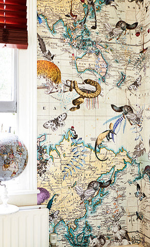 Kristjana S Williams, World Map Animal Light Wall Mural