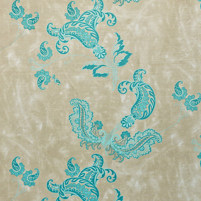 Barneby Gates fabric - Paisley, Turquoise on Old Grey