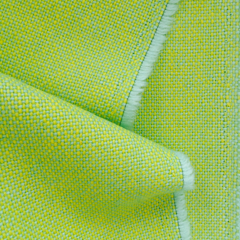 Luxury Wool Fabric - Yellow on Mint