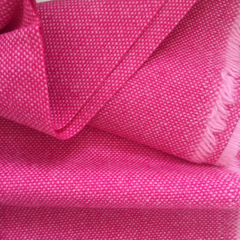 Luxury Wool Fabric - Hot Pink on Pale