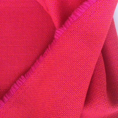 Luxury Wool Fabric - Red on Hot Pink