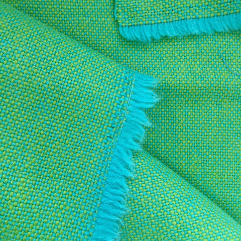 Luxury Wool Fabric - Green on Turquoise