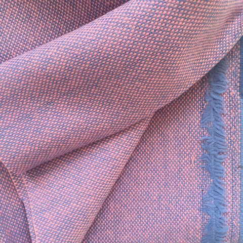 Luxury Wool Fabric - Pink on Blue