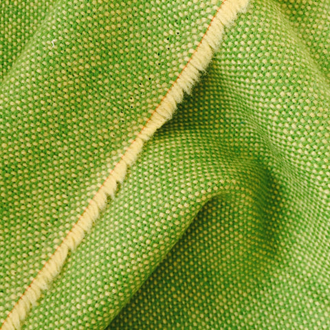 Luxury Wool Fabric - Green on Yellow