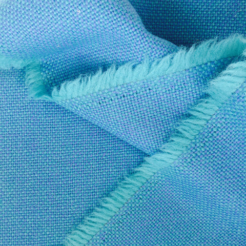 Luxury Wool Fabric - Blue on Turquoise